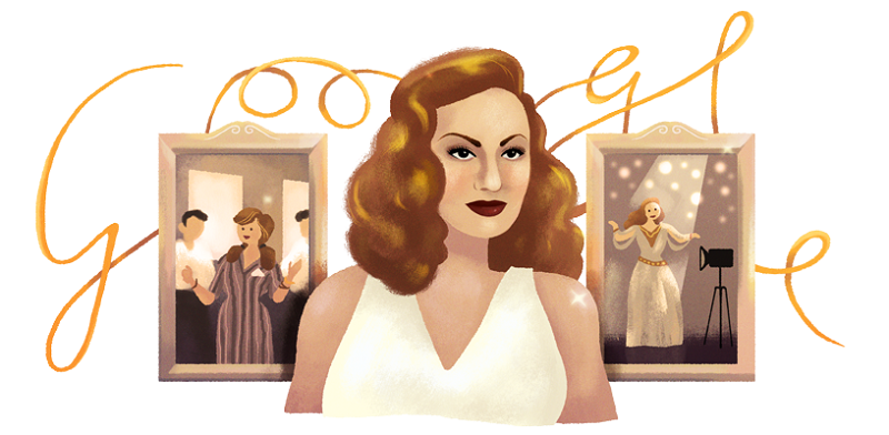 Google Doodle of Hind Rostom in her Birthday